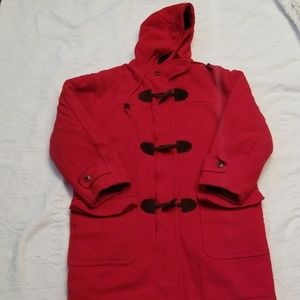 Vintage L.L. Bean red wool pea coat sz small